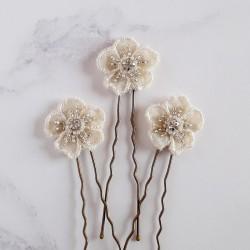 Cream Floral Applique Hair...