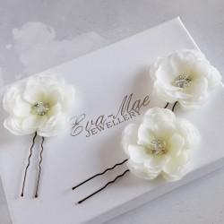 Ivory Rose Hair Pins - Set...