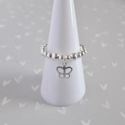 Silver Butterfly Charm Ring