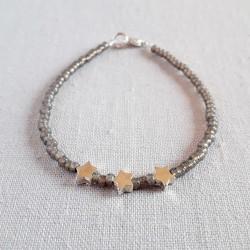 Silver Star Seed Bracelet -...