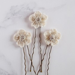 Cream Floral Applique Hair...