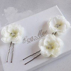 Ivory Rose Hair Pins - Set...