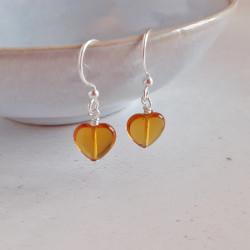 Glass Heart Earrings - Amber