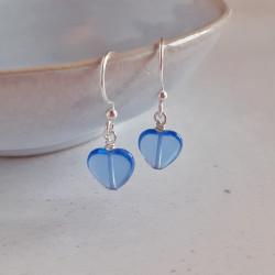 Glass Heart Earrings - Blue