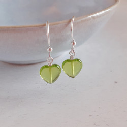Glass Heart Earrings - Lime...
