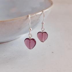Glass Heart Earrings - Purple