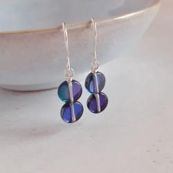 Disc Earrings - Blue/Silver...