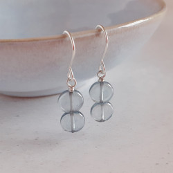 Disc Earrings - Slate Blue