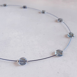 Glass Disc Necklace - Slate...