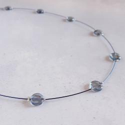 Glass Disc Necklace - Slate...