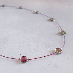 Glass Disc Necklace - Pink Mix