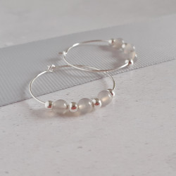 Grey Agate Hoops
